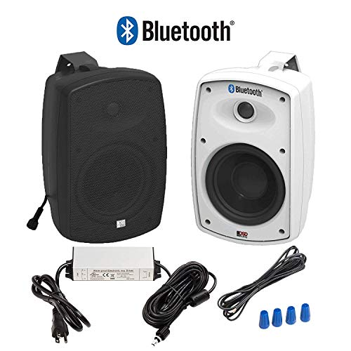 OSD Audio 5.25″ Bluetooth Outdoor Patio Speaker – Wireless Pair, Black – BTP525