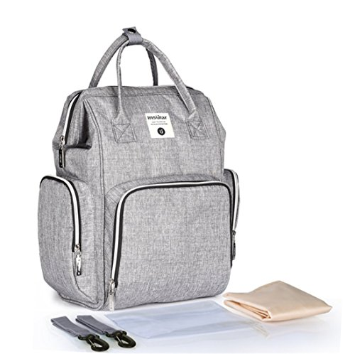 Diaper Bag Multi-Function Waterproof Travel Backpack Nappy Bags for Baby Care, Large Capacity, Stylish and Durable, Mom Bag (Gray)
