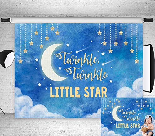 TJ 7X5ft Blue Gold Twinkle Twinkle Little Star Theme Photography Background Clouds Sky Baby Shower Birthday Party Banner Photo Backdrops Dessert Table Decor Photo Booth Studio -