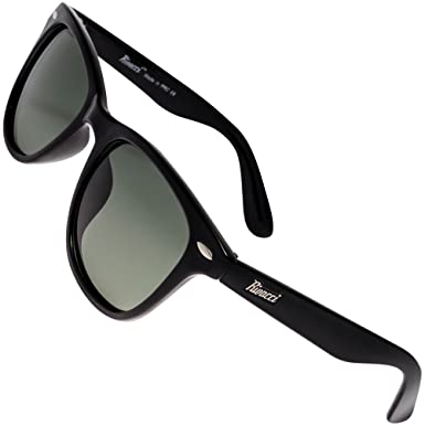 Rivacci Men Women Wayfarer Black Frame / G15 Green – Gray Lens Classic Retro Polarized Sunglasses