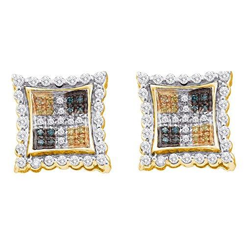 0.51ctw Canary Yellow Blue & White Princess Cut Square Shape Diamond Stud Earrings