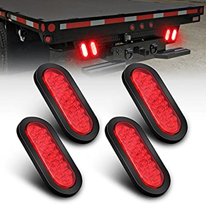 Pack of 4 AMBOTHER Oval 6 22 LED Trailer Lights Red Stop//Turn Signal//Brake//Marker//Tail LED Light Flush Mount for Truck Trailer Trail Bus 12V Red