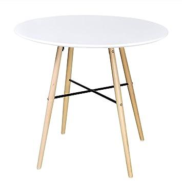 VidaXL MDF Esstisch Buchenholz Esszimmer Tisch Küchentisch Holztisch  Mattweiß Rund