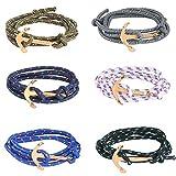 ASHMITA 6pcs Gold Nautical Charm Anchor Bracelet for Men Women Multi-Wrap Rope Bracelets Adjustable Size 6'-8'