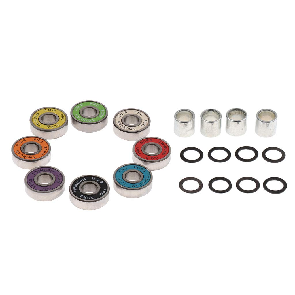 Prettyia 8x21x7mm 608RS Skateboard Roller Sealed Ball Bearings with 4 Spacers 8 Washers