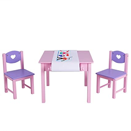 Amazoncom Lhone Kids Art Table And 2 Chairs Set With Paper Roll