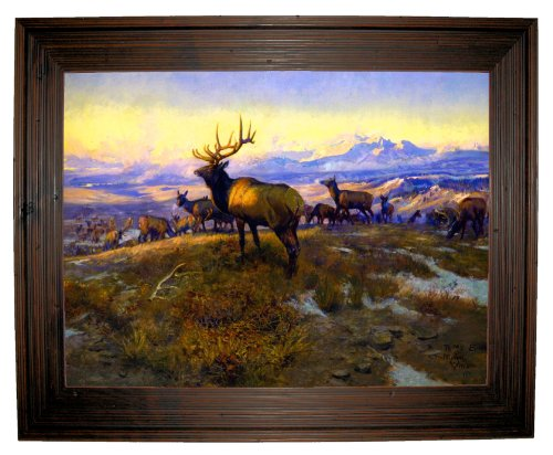 CM Russell The Exalted Ruler 1912 - Rustic Brown Framed Canvas Print Reproduction 32 x 25 (Print Framed 1912 Giclee)