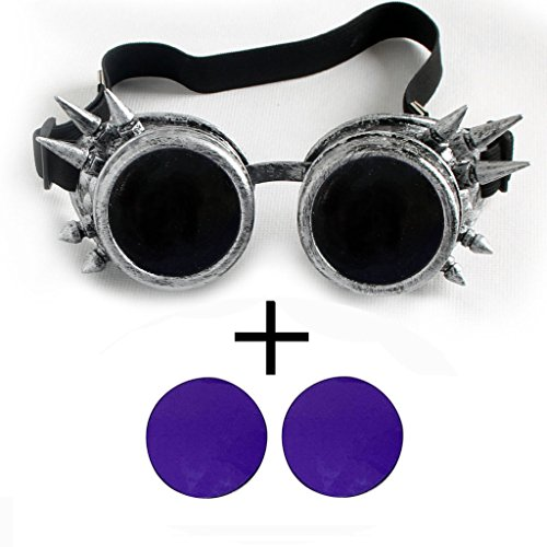 OMG_Shop Old Silver Vintage Victorian Steampunk Goggles Glasses Welding Cyber Punk Gothic Cosplay (Purple - Sunglasses Steampunk Victorian