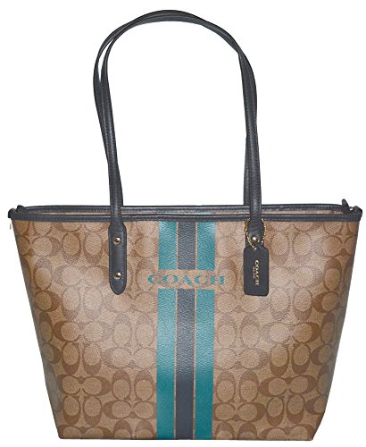 Coach Varsity Stripe City Zip Signature Bag Handbag Purse Tote price tips cheap