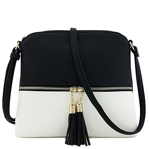Lightweight Medium Crossbody Bag with Tassel (Black/White)