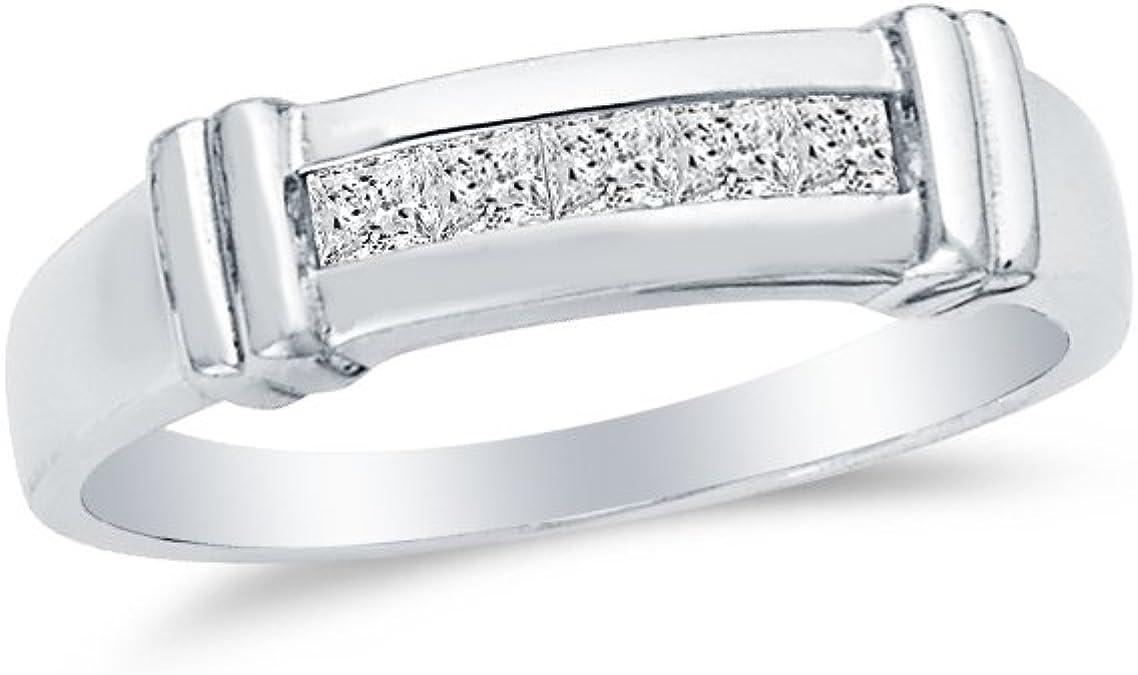 Men/'s 7mm Titanium Band White IP Ring 3 Stacked Cubic Zirconia CZs Gift box