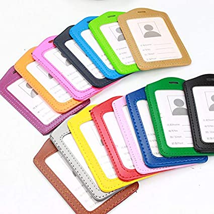 Color Border Office Supply Badge Card Holder Leather Case Transparent PU Cover
