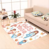 Sophiehome skid Slip rubber back antibacterial  Area Rug cute kids doing yoga exercises yoga kids set gymnastics for children and healthy lifestyle 559726207 Home Decorative