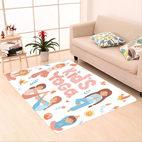 Sophiehome skid Slip rubber back antibacterial Area Rug cute kids doing yoga exercises yoga kids set gymnastics for children and healthy lifestyle 559726207 Home Decorative by sophiehome