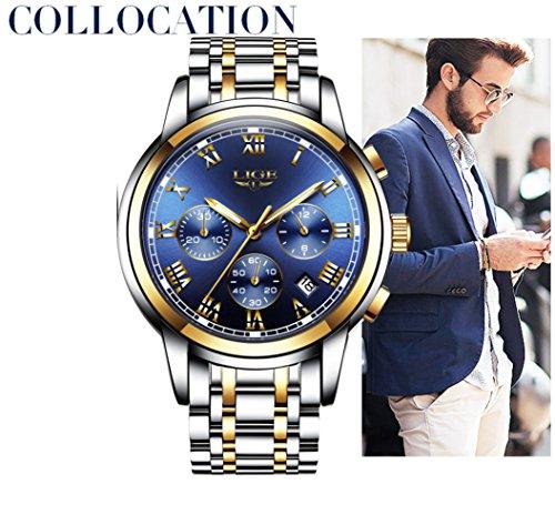 61PDSvWlNyL LIGE Men's Quartz Stainless Steel Watch, Color:Blue (Model: DS13)