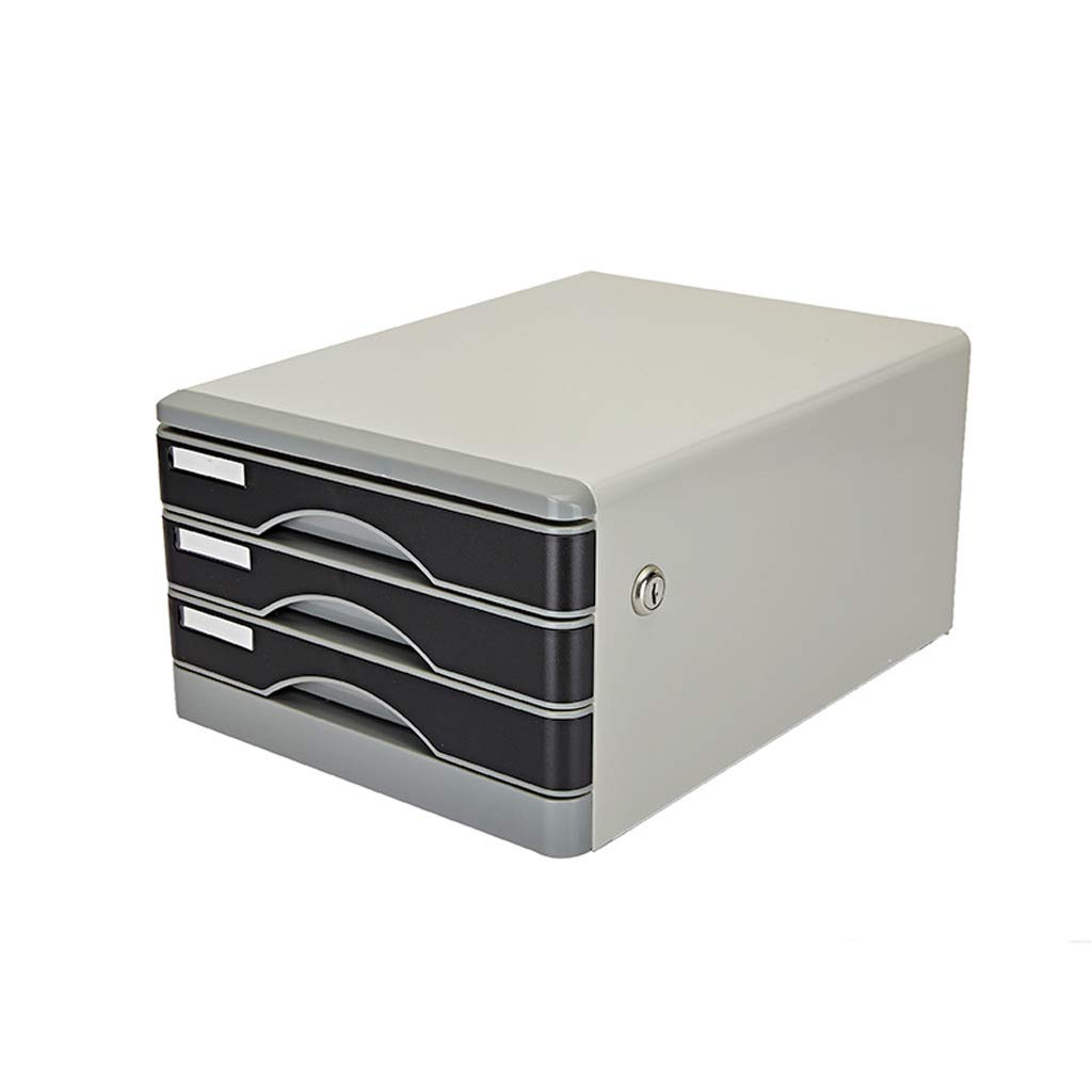 File cabinets LITING Three-Layer Lock Metal Gray Metal Cabinet Low Cabinet Information Cabinet Drawer File Box