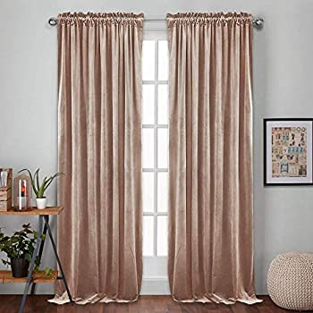 RYB HOME Velvet Curtains 96 - Living Room Window Drapes Insulate Heat Cold Privacy Pleated Shades for Kids Nursery Hotel Apartment Office School Dorm Backdrop, Wide 52 x Long 96, Brownish Pink, 2 Pcs