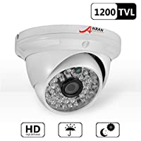 ANRAN HD 1200TVL 48 IR-LEDs High Resolution CCTV Camera Home Security Day/Night Waterproof Infrared IR night Vision Outdoor/ Indoor Wide Angel 3.6mm lens Dome Surveillance Home Video System