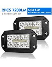 Flush Mount Led Pods - 6 Inch Spot Flood Combo Beam LED Light Bar - 7200LM Work Driving Lights Off Road for Trucks Tractor SUV 4x4 ATV UTV - 2 Pack
