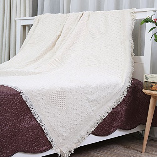 White Throw Blanket Super Soft 100% Cotton Throw Blanket for Couch Sofa Bed 51