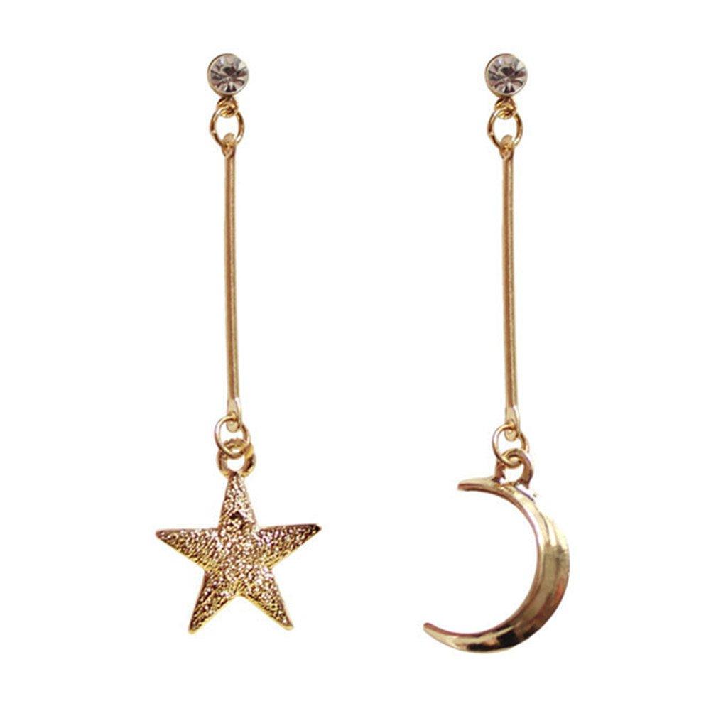 18K Gold Plated CZ irregular asymmetric frosted Moon and Star Women long tassel dangle Earrings Tacttac