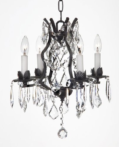 WROUGHT IRON CRYSTAL CHANDELIER CHANDELIERS (Versailles Four Light Chandelier)