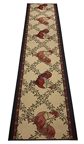 RugStylesOnline Custom Runner Rooster Country Design Roll Runner 26 Inch Wide x Your Length Size Choice Slip Skid Resistant Rubber Back (Beige, 3 ft x 26 in) (Rooster Runner)