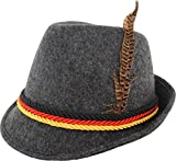 German Alpine Bavarian Oktoberfest Costume Hat with Feather