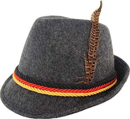 German Alpine Bavarian Oktoberfest Costume Hat with Feather