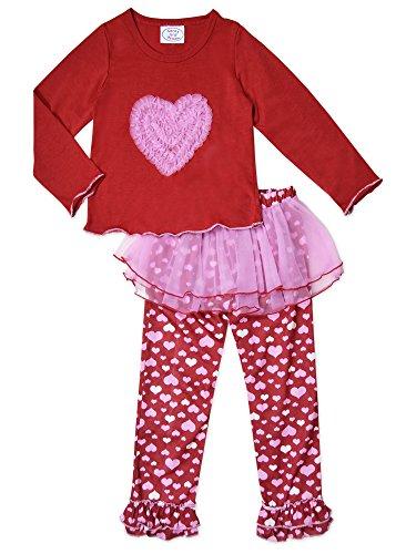 Sara's Prints Girls Tulle Heart 2-Piece Pajama , Kids Size (Saras Prints Girls 2 Piece)