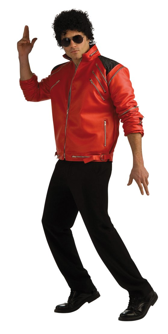 Michael Jackson Deluxe Zipper Jacket, Red, X-Large Costume by Rubie's