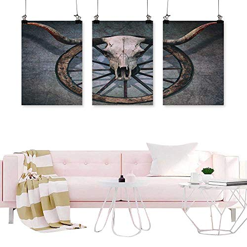 Glifporia Triptych Modern Watercolor Art Print Barn Wood Wagon Wheel,Wild West Themed Design with Bull Skull on Cart Wheel Scratched Wall,Multicolor Wall Canvas Modern Living Room