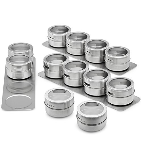 Vistella Magnetic Spice Tins with Wall Mountable Plate Racks - Set of 12 Spice Storage Canisters with 3 Stainless Steel Bases - Clear Top Lids with Sift or Pour Delivery - Wall Base or Fridge Mounted