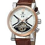 Forsining Men s Steampunk Automatic Tourbillon Calendar Brown Genuine Leather Wrist Watch FSG2371M3T2