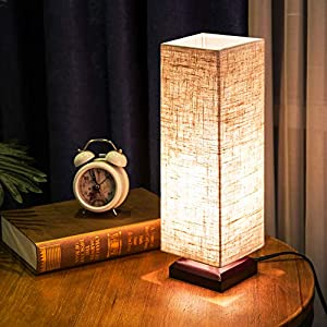 ZEEFO Bedside Table Lamp, Retro Style Solid Wood Table Lamps with Fabric Shade Nightstand Mini Desk Lamps for Bedroom, Living Room, Baby Room, Bookcase (Square)