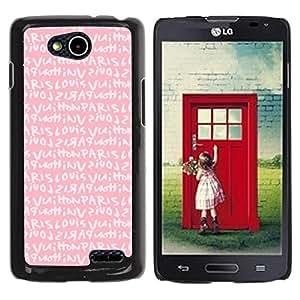 Planetar® ( Pink Paris Love Text Girls Romantic ) LG OPTIMUS L90 / D415 Fundas Cover Cubre Hard Case Cover