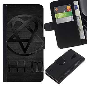 YiPhone /// Tirón de la caja Cartera de cuero con ranuras para tarjetas - ÉL - Samsung Galaxy S4 IV I9500