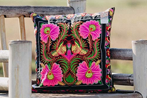 (Orchid Hmong Tribe Embroidered Cushion, Boho Cushion, Bohemian Home Decor, Fair Trade Cushion, Unique Gifts for Boho)