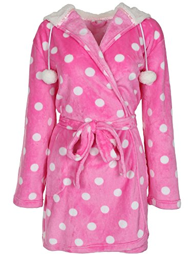 Robe Capelli (Capelli New York Ladies Dot Printed Super Soft Cozy Robe Pink Combo L/XL)