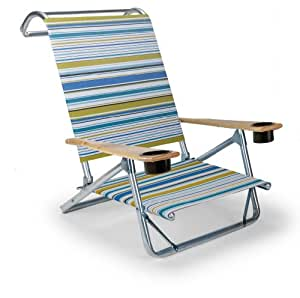 Telescope Casual Original Mini-Sun Chaise Folding Beach Arm Chair with Cup Holders, Coastline