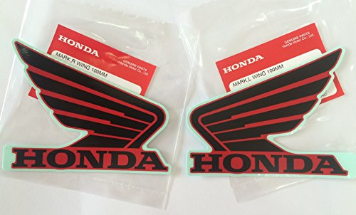 Honda Wings Fuel Tank Gas Tank Stickers Decals 2 X 100mm Black & Red - Left & Right Brand New 100% Genuine