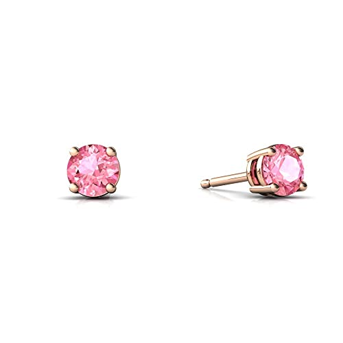 14kt Gold Lab Pink Sapphire 4mm Round Round Stud Earrings