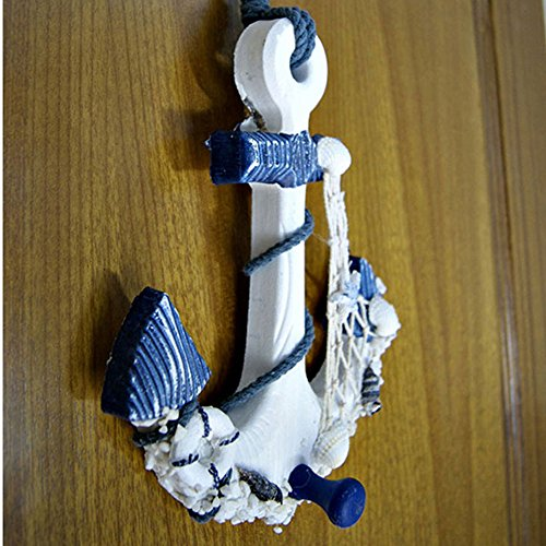 Drawing Room Collection Wall Bracket (BUNITA,Mediterranean Style Wood Anchor Ornament Nautical Decor Hanging Crafts Art Wall Hanging Hook Home Room Office Decoration Gift,hanging wall wood )