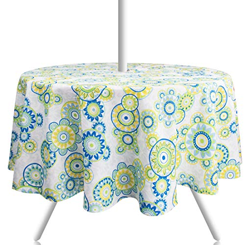 (Ebecede 60 Inch Round Outdoor Tablecloth with Zipper Umbrella Hole for Patio Picnic Restaurant Party Decoration, Fabric Floral Printed Round Patio Tablecloth Cover)