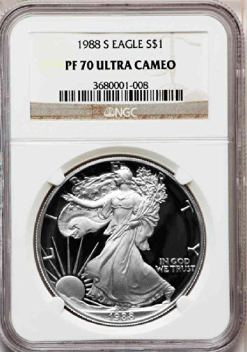 1988 S American Silver Eagle Dollar DCAM NGC PF70