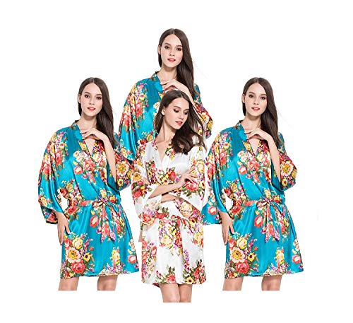 V Manga Un Mujeres Vintage Estampado Blaugrün Tamaño Claro Blush Clásico De Cuello Rosa Floral En Kimono Mujer Larga Bata Xwv4TCqZn
