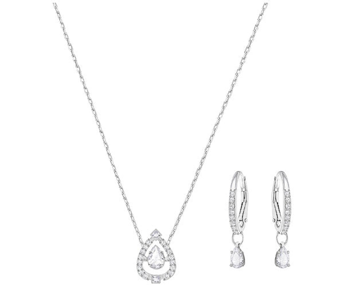 Swarovski Jewelry Small White Sparkling Dance Pear Set
