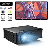 DOACE P1 HD 1080P Video Projector with Portable Screen 84 for Indoor Outdoor, Home Theater Projector Support USB SD Card VGA AV for Home Cinema TV Laptop Game Smartphone with Free AV Cable