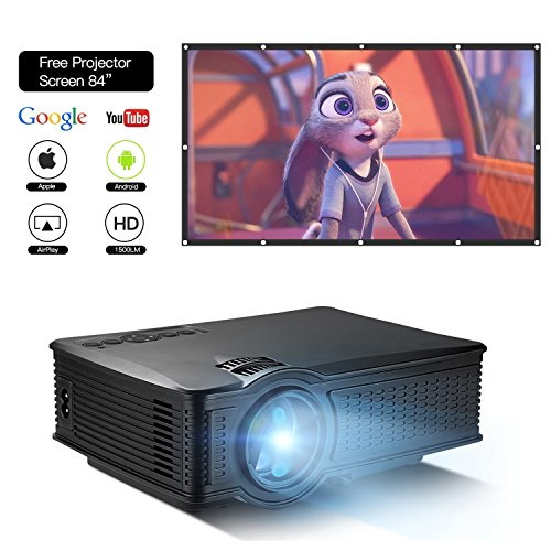 DOACE P1 HD 1080P Video Projector with Portable Screen 84″ for Indoor Outdoor, Home Theater Projector Support USB SD Card VGA AV for Home Cinema TV Laptop Game Smartphone with Free AV Cable