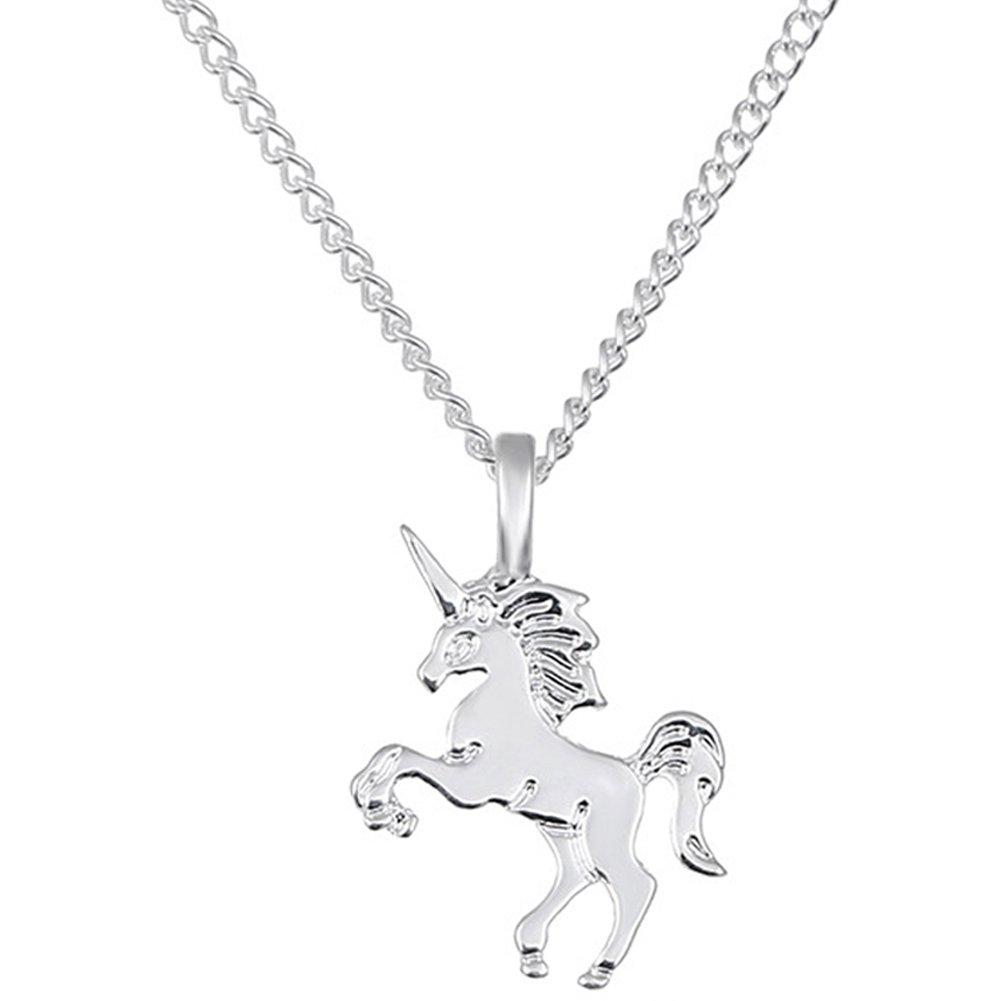Unicorn Necklace For Women Chain Charm 925 Sterling Silver Plated Cute Pendant Statement Choker ToRhine B07B7NYF5K_US